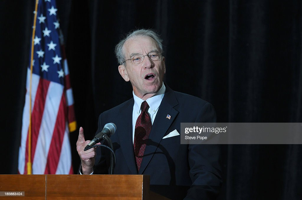 U.S. Senator <a gi-track='captionPersonalityLinkClicked' href=/galleries/search?phrase=Chuck+Grassley&family=editorial&specificpeople=504960 ng-click='$event.stopPropagation()'>Chuck Grassley</a> (R-IA) speaks at the annual Ronald Reagan Commemorative Dinner on, October 25, 2013 in Des Moines, Iowa. U.S. Sen. Ted Cruz (R-TX) was the keynote speaker.