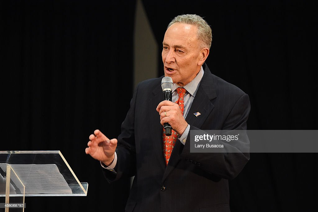Senator Chuck Schumer speaks at City Harvest's 20th annual Bid Against Hunger on October 29, 2014 in New York City.