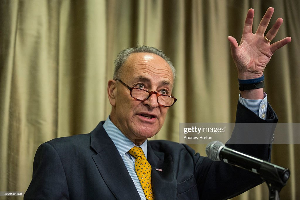 U.S. Senator Chuck Schumer (D-NY) speaks at New York University calling for federal and state officials to find a solution to the ailing tunnels used by various rail organizations, including Amtrak, to enter and exit Manhattan on August 11, 2015 in New York City. Schumer also answered questions regarding his stance on President Obama's Iran deal, which he has said he will not support.
