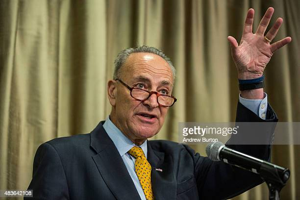 S Senator Chuck Schumer speaks at New York University calling for federal and state officials to find a solution to the ailing tunnels used by...