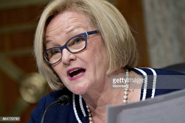 Senator Claire McCaskill a Democrat from Missouri and ranking member of the Senate Homeland Security Committee makes an opening statement during a...