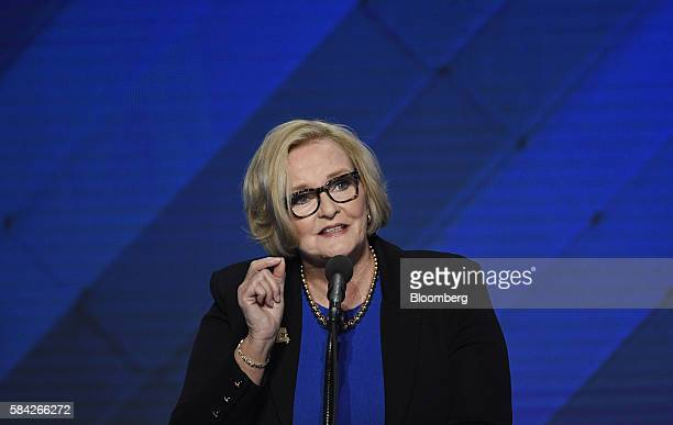 Senator Claire McCaskill a Democrat from Missouri during the Democratic National Convention in Philadelphia Pennsylvania US on Thursday July 28 2016...