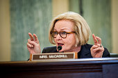US Senator Claire McCaskill a Democrat from Missouri questions a witness during a Senate Committee on Commerce Science and Transportation hearing on...