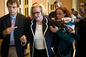 Senator Claire McCaskill a Democrat from Missouri talks to reporters after a private meeting the US Capitol Building in Washington DC US on Thursday...