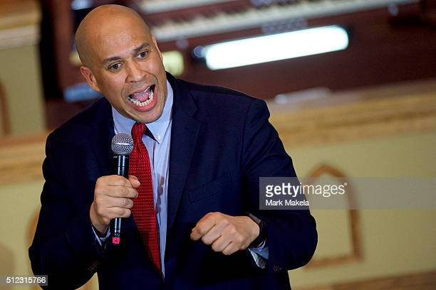 Senator Cory Booker speaks and introduces Democratic Presidential candidate former Secretary of State Hillary Clinton at a Breaking Down Barriers...