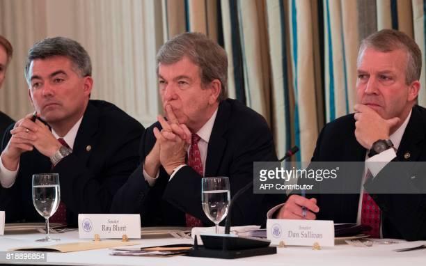 US Senator Cory Gardner Republican of Colorado US Senator Roy Blunt Republican of Missouri and US Senator Dan Sullivan Republican of Alaska listen as...