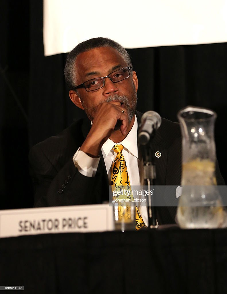 Senator Curren Price, Jr. speaks onstage during A New Plank In Piracy/Content Theft Panel at Variety's Hollywood Chamber Entertainment Conference 2012 at Loews Hollywood Hotel on November 16, 2012 in Hollywood, California.