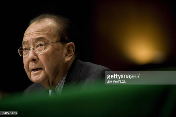 US Senator Daniel Inouye DHI introduces retired US General Eric Shenseki during a full committee hearing on Shenseki's nomination to be Veterans...