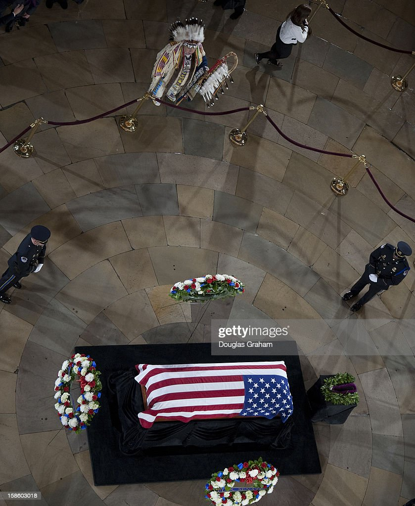 U.S. Senator Daniel Inouye (D-HI) lies in state December 20, 2012 on Capitol Hill in Washington, DC. The late Senator had died at the age of 88 on Monday at the Walter Reed National Military Medical Center in Bethesda, Maryland where he had been hospitalized since early December. A public funeral service will be held at the Washington National Cathedral on Friday for Senator Inouye, a World War II veteran and the second-longest serving senator in history. His remains will be returned and laid to rest in his home state.