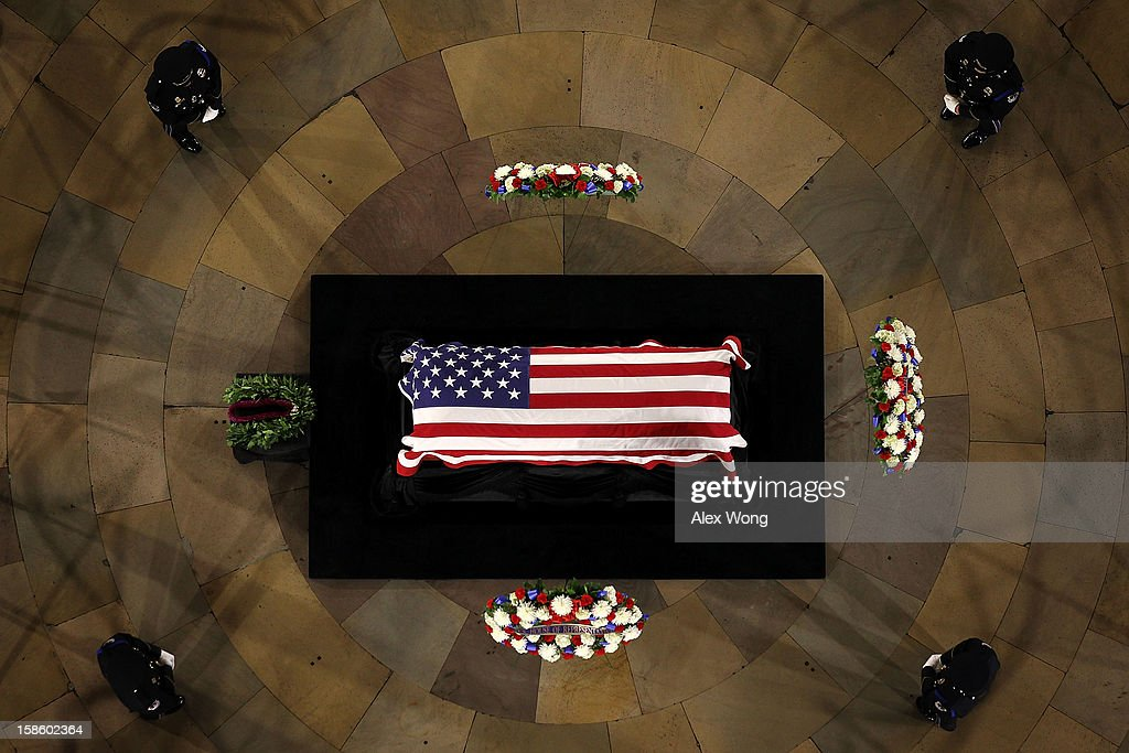 U.S. Senator Daniel Inouye (D-HI) lies in state in the Rotunda of the U.S. Capitol during a service December 20, 2012 on Capitol Hill in Washington, DC. The late Senator had died at the age of 88 on Monday at the Walter Reed National Military Medical Center in Bethesda, Maryland where he had been hospitalized since early December. A public funeral service will be held at the Washington National Cathedral on Friday for Senator Inouye, a World War II veteran and the second-longest serving senator in history. His remains will be returned and laid to rest in his home state.