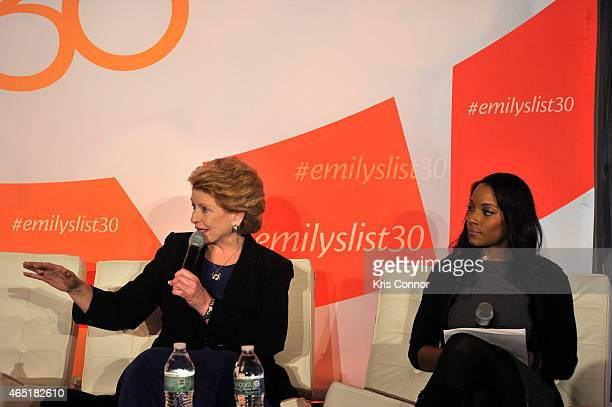 Senator Debbie Stabenow and Zerlina Maxwell speak at a panel at EMILY's List 30th Anniversary Gala at Washington Hilton on March 3 2015 in Washington...