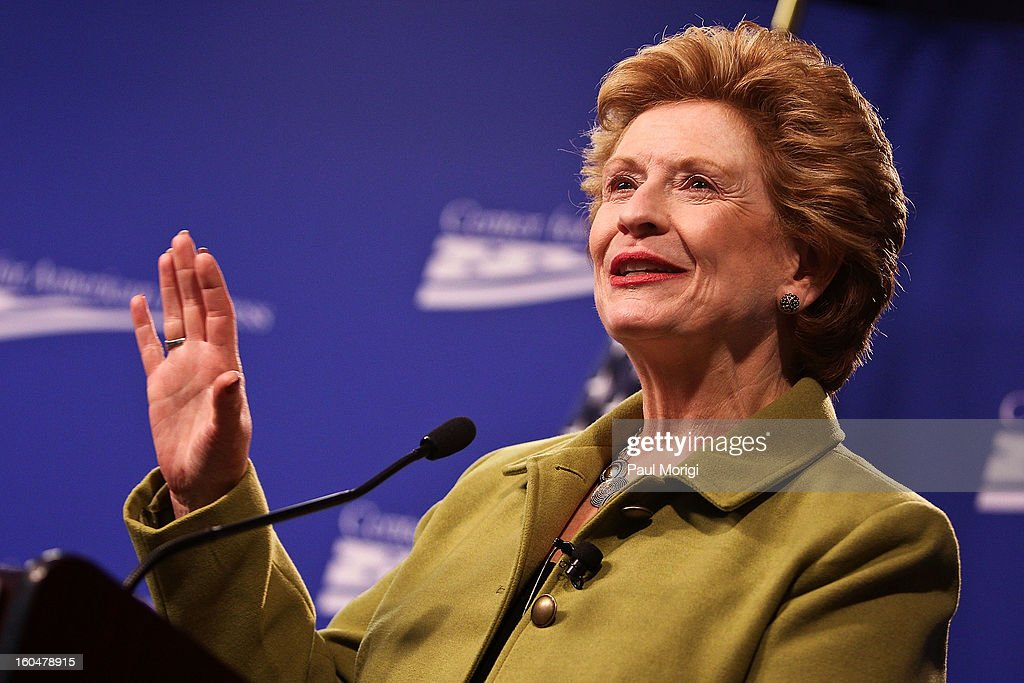 Senator <a gi-track='captionPersonalityLinkClicked' href=/galleries/search?phrase=Debbie+Stabenow&family=editorial&specificpeople=221624 ng-click='$event.stopPropagation()'>Debbie Stabenow</a> (D-MI) makes a few remarks at the 'Silver Lining Playbook' Mental Health Progress Press Conference at Center For American Progress on February 1, 2013 in Washington, DC.