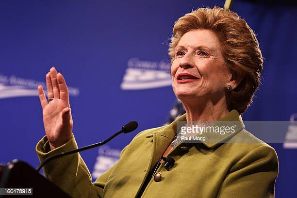 Senator Debbie Stabenow makes a few remarks at the 'Silver Lining Playbook' Mental Health Progress Press Conference at Center For American Progress...