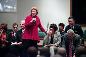 S Senator Debbie Stabenow praises Flint Michigan Mayor Karen Weaver at a community forum where a Congressional delegation attended for an update on...