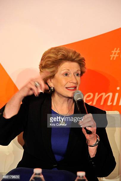 Senator Debbie Stabenow speaks at a panel at EMILY's List 30th Anniversary Gala at Washington Hilton on March 3 2015 in Washington DC