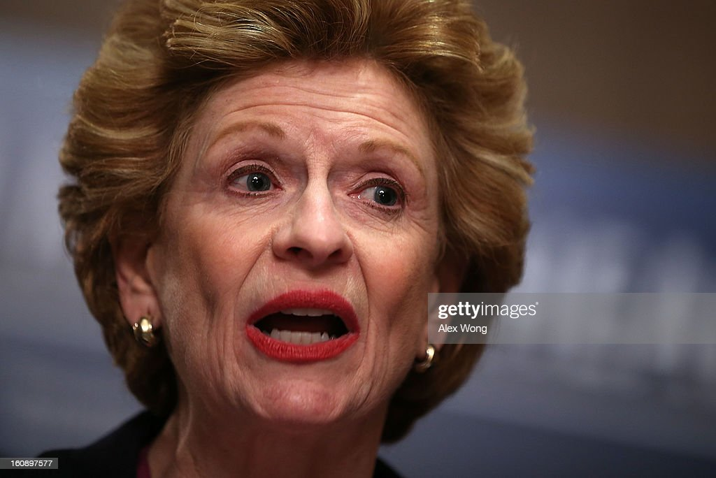 U.S. Senator <a gi-track='captionPersonalityLinkClicked' href=/galleries/search?phrase=Debbie+Stabenow&family=editorial&specificpeople=221624 ng-click='$event.stopPropagation()'>Debbie Stabenow</a> (D-MI) speaks during a news conference February 7, 2013 on Capitol Hill in Washington, DC. A bipartisan group of senators will introduce the Excellence in Mental Health Act to help strengthen the nation's mental health services.