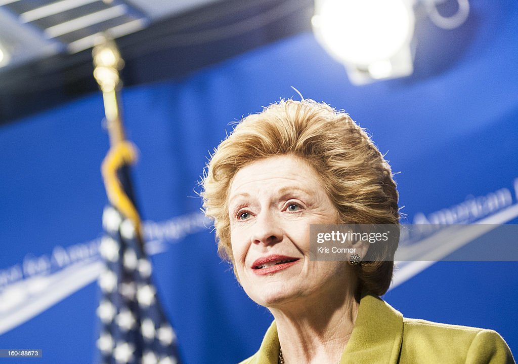 Senator <a gi-track='captionPersonalityLinkClicked' href=/galleries/search?phrase=Debbie+Stabenow&family=editorial&specificpeople=221624 ng-click='$event.stopPropagation()'>Debbie Stabenow</a> (D-MI) speaks during the 'Silver Lining Playbook' mental health progress press conference at Center For American Progress on February 1, 2013 in Washington, DC.