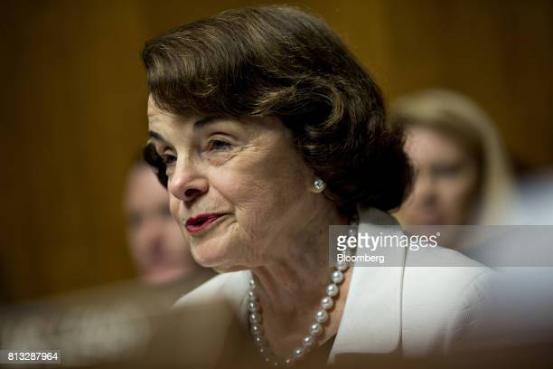 Senator Dianne Feinstein a Democrat from California and ranking member of the Senate Judiciary Committee makes an opening statement during a...