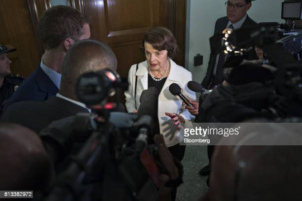 Senator Dianne Feinstein a Democrat from California and ranking member of the Senate Judiciary Committee speaks to members of the media during a...