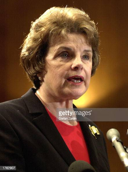 S Senator Dianne Feinstein speaks at a media conference on Capitol Hill February 5 2003 in Washington DC Feinstein discussed proposed legislation...