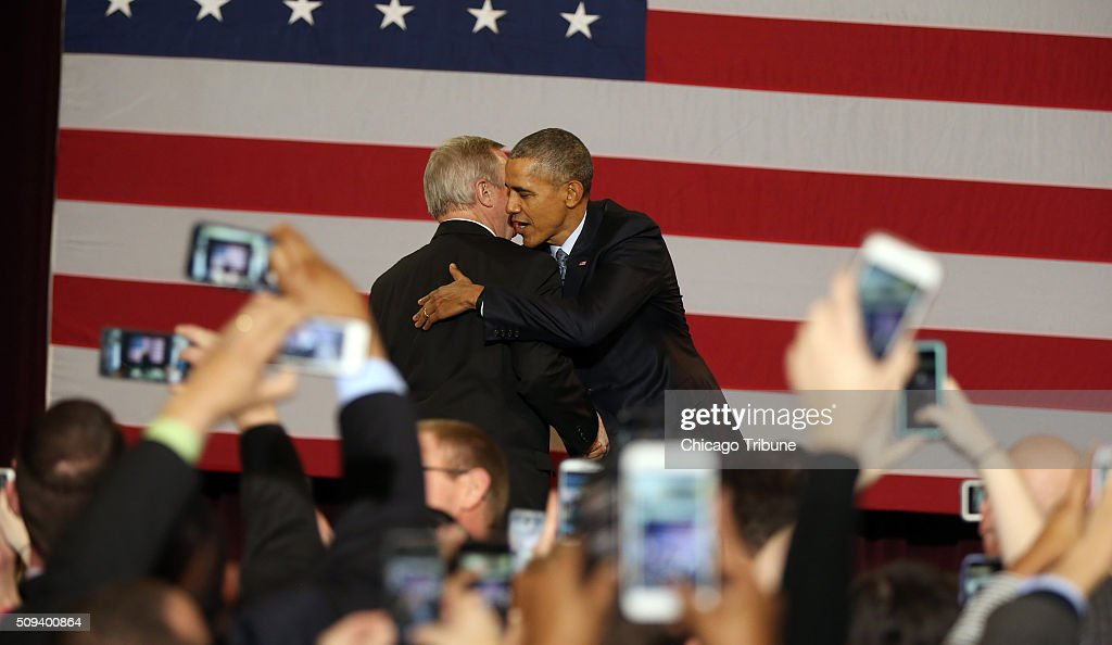 U.S. Senator Dick Durbin introduces President Barack Obama at the Hoogland Center for the Arts in Springfield, Ill., on Wednesday, Feb. 10, 2016.