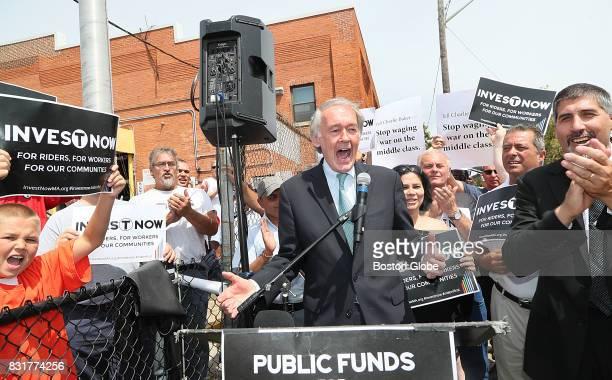 Senator Ed Markey joins with MBTA bus maintenance union members to rally against privatization at the MBTA Lynn Maintenance Facility in Lynn MA on...