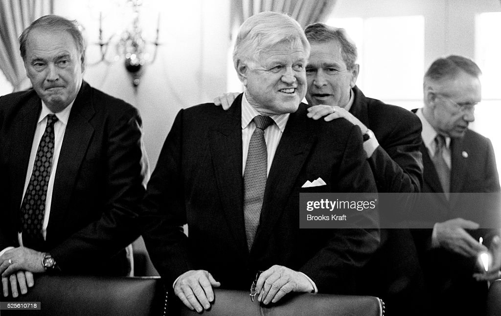 Senator Edward Kennedy and President George W. Bush share a laugh before a meeting on Homeland Security at The White House.