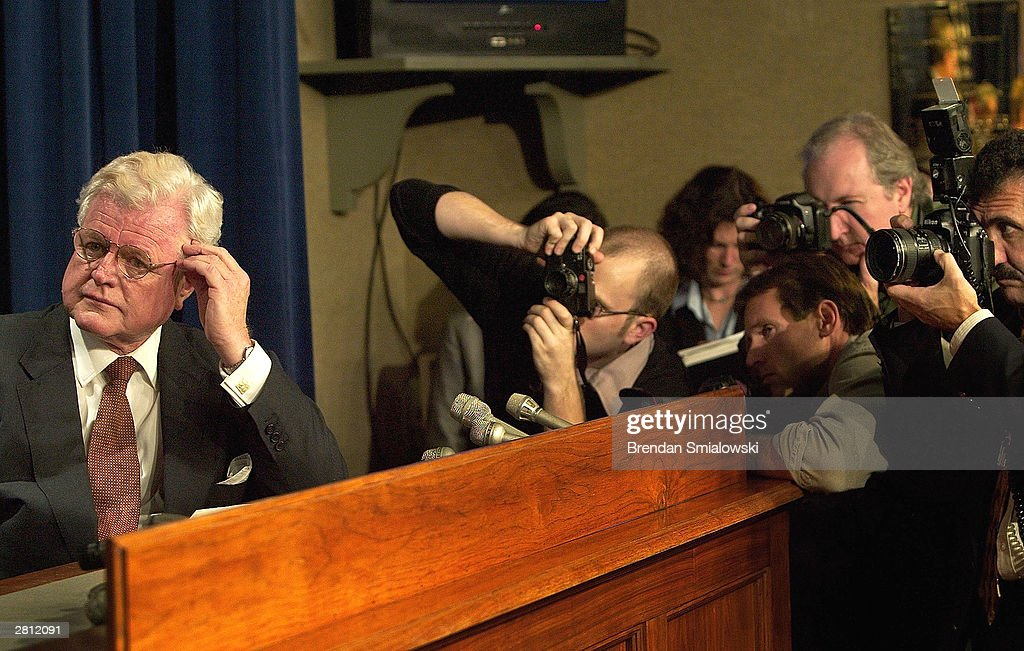 Senator Edward Kennedy (D-MA) listens while other senators address the media during a news conference on Capitol Hill November 24, 2003 in Washington, DC. Senators held the conference to respond to the 70 to 29 vote ruling out a filibuster which was the last remaining obstacle standing in the way of the new Medicare Bill.