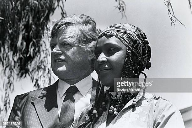 Senator Edward Kennedy with Winnie Mandela who is in exile in Brandfort Free State South Africa