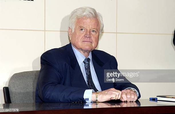 Senator Edward M Kennedy during Senator Edward M Kennedy Signs His Book 'America Back on Track' at Barnes Noble in New York City April 21 2006 at...