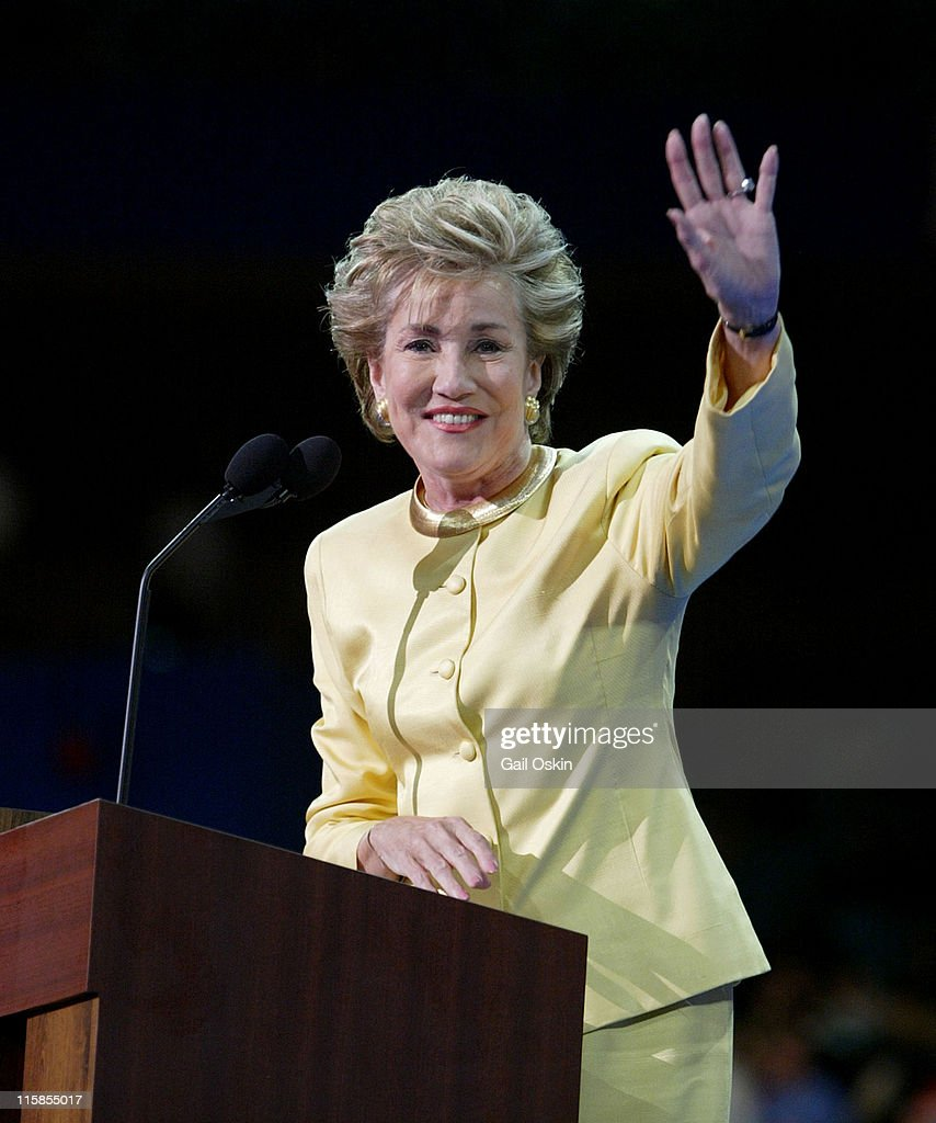 Senator Elizabeth Dole from North Carolina waves to the crowd after speaking on the second night of the Republican National Convention, Tuesday night, August 31, 2004 in New York City, NY.