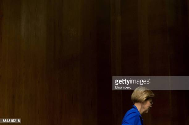 Senator Elizabeth Warren a Democrat from Massachusetts leaves after a Senate Health Education Labor and Pension Committee nomination hearing for Alex...