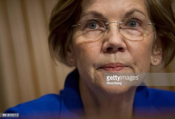 Senator Elizabeth Warren a Democrat from Massachusetts listens during a Senate Health Education Labor and Pension Committee nomination hearing for...