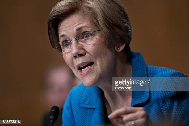 Senator Elizabeth Warren a Democrat from Massachusetts questions Janet Yellen chair of the US Federal Reserve not pictured during a Senate Banking...