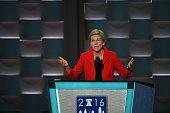 Senator Elizabeth Warren addresses the Democratic National Convention in Philadelphia on Monday July 25 2016