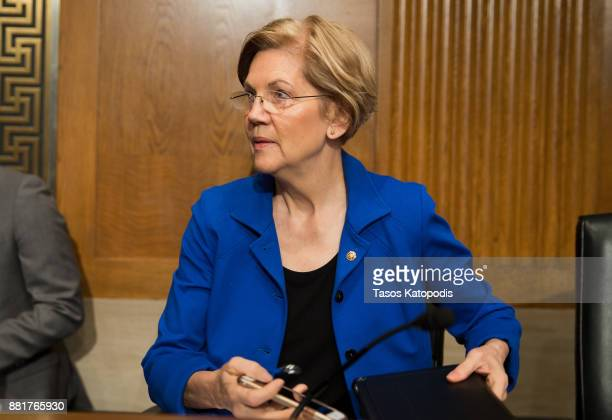 Senator Elizabeth Warren attends full committee hearing on the nomination of Alex Michael Azar II to be Health and Human Services Secretary on...