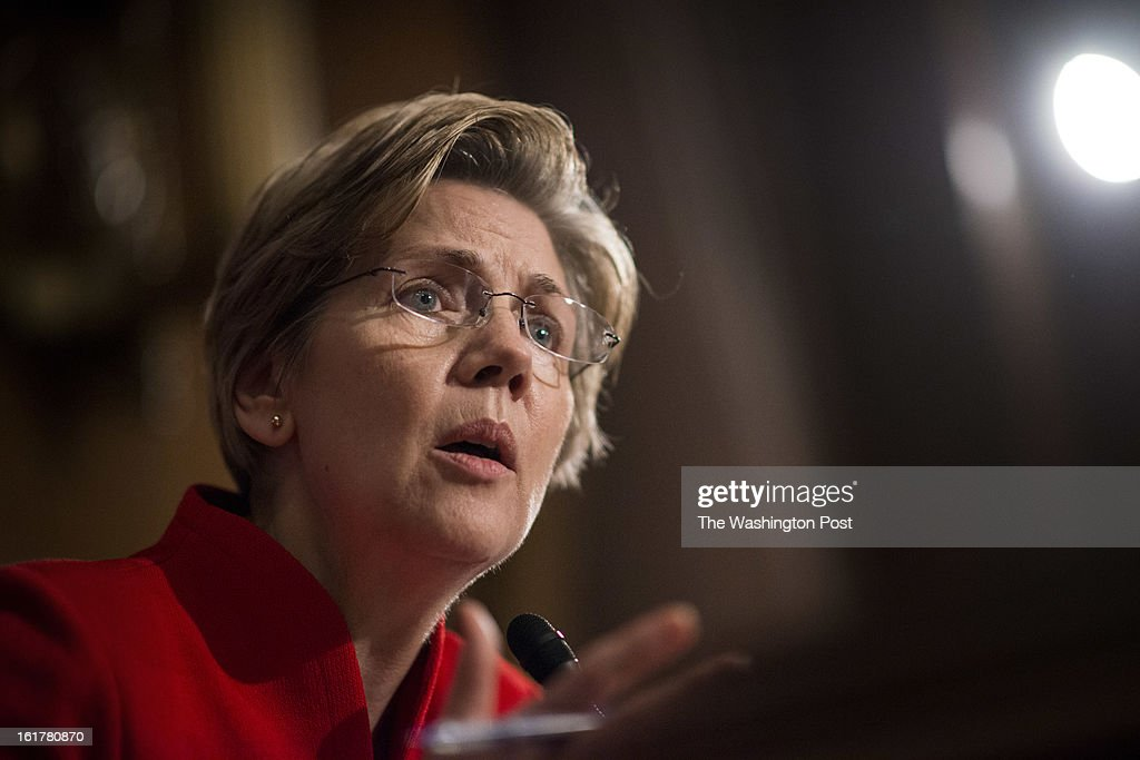 Senator Elizabeth Warren during her first hearing as a US Senator at the Senate Banking Committee on Capitol Hill Thursday, February 14, 2013.
