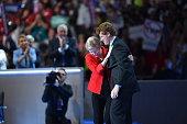 Senator Elizabeth Warren greets Representative Joseph P Kennedy III before addressing the Democratic National Convention in Philadelphia on Monday...