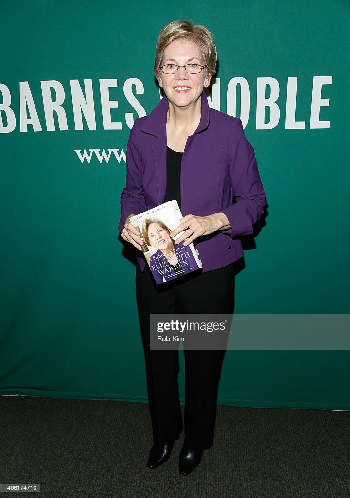 Senator <a gi-track='captionPersonalityLinkClicked' href=/galleries/search?phrase=Elizabeth+Warren&family=editorial&specificpeople=5396017 ng-click='$event.stopPropagation()'>Elizabeth Warren</a> promotes her new book, ' A Fighting Chance' at Barnes & Noble Union Square on March 30, 2015 in New York City.