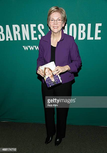 Senator Elizabeth Warren promotes her new book ' A Fighting Chance' at Barnes Noble Union Square on March 30 2015 in New York City