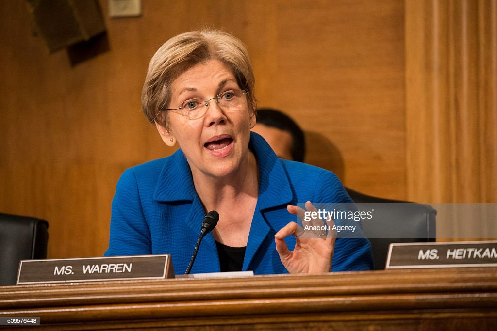 Senator Elizabeth Warren questions Janet Yellen, Chair of the Federal Reserve Board of Governors, during a Senate Banking Committee on the semiannual monetary report to Congress hearing in Washington, USA on February 11, 2016.