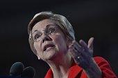 US Senator Elizabeth Warren speaks during Day 1 of the Democratic National Convention at the Wells Fargo Center in Philadelphia Pennsylvania July 25...