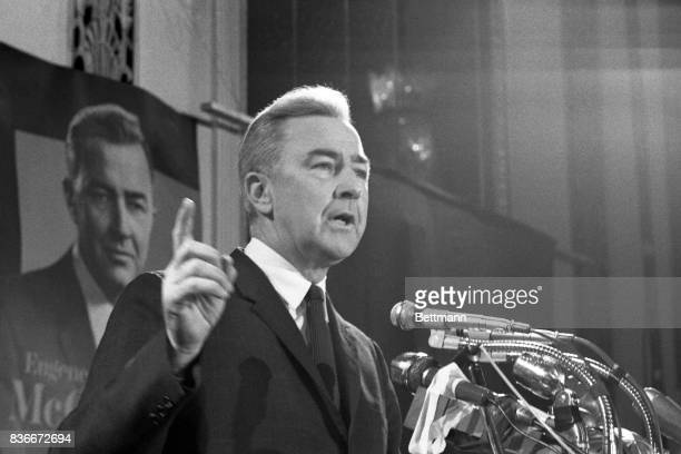 Senator Eugene McCarthy said at a press conference 4/1 that President Johnson's decision would not effect his campaign or his presentation of issues...