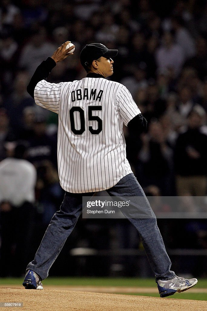 S Senator for Illinois Barack Obama throws out the ceremonial first pitch prior to the start of Game Two of the American League Championship Series...