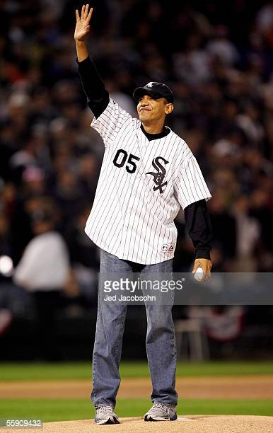 S Senator for Illinois Barack Obama waves to the crowd before throwing out the ceremonial first pitch prior to the start of Game Two of the American...