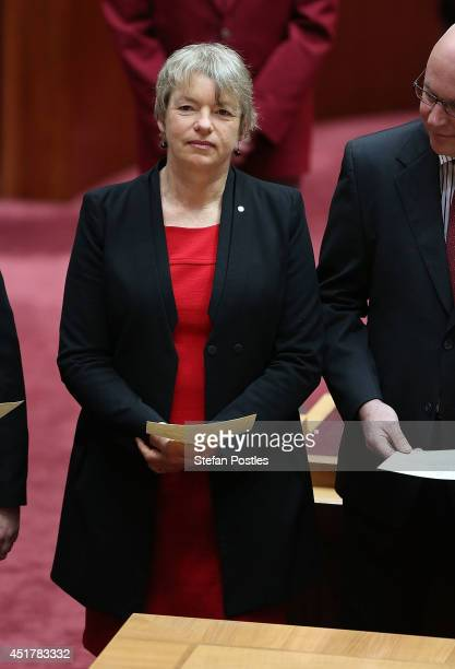 Senator for Victoria Janet Rice is sworn in during an official ceremony at Parliament on July 7 2014 in Canberra Australia Twelve Senators will be...