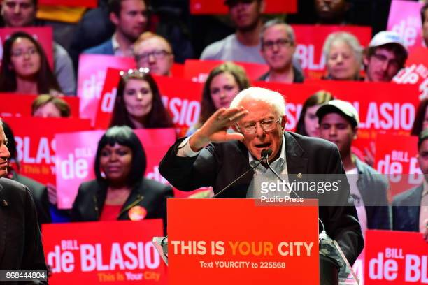 Senator from Vermont Bernie Sanders in a rally on Manhattan's West Side with speeches evoking the progress NYC has made in combating crime and...