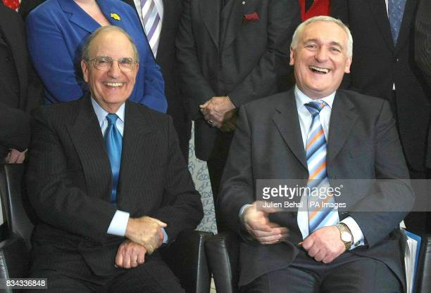 Senator George Mitchell and Taoiseach Bertie Ahern in BBC studios Belfast where politicians who negotiated The Good Friday Agreement ten years ago...