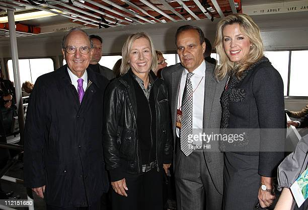 Senator George Mitchell tennis legend Martina Navratilova former Yankees manager Joe Torre and host Deborah Norville attend the 2011 Ellis Island...