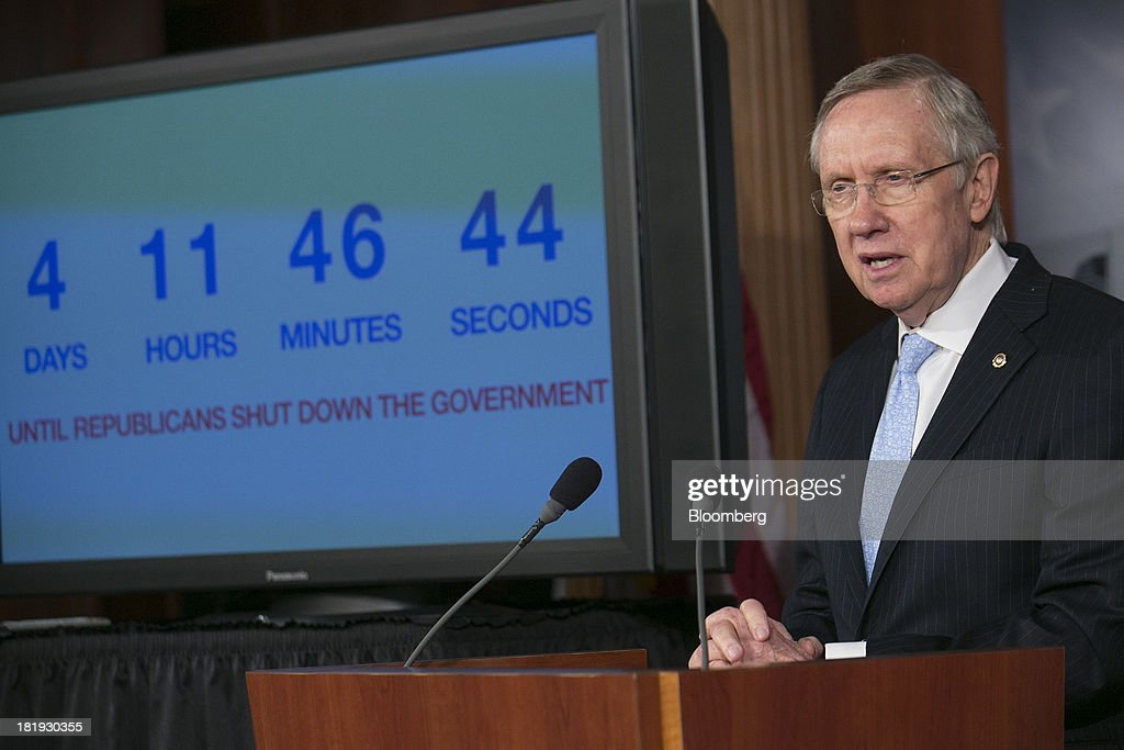 Senator <a gi-track='captionPersonalityLinkClicked' href=/galleries/search?phrase=Harry+Reid+-+Politician&family=editorial&specificpeople=203136 ng-click='$event.stopPropagation()'>Harry Reid</a>, a Democrat from Nevada and Senate majority leader, speaks during a news conference in Washington, D.C., U.S., on Thursday, Sept. 26, 2013. The Senate is accelerating debate on a bill that would avert a U.S. government shutdown as Senate Republicans sought to buy time for their House counterparts to take another swipe at President Barack Obama's health-care law. Photographer: Andrew Harrer/Bloomberg via Getty Images